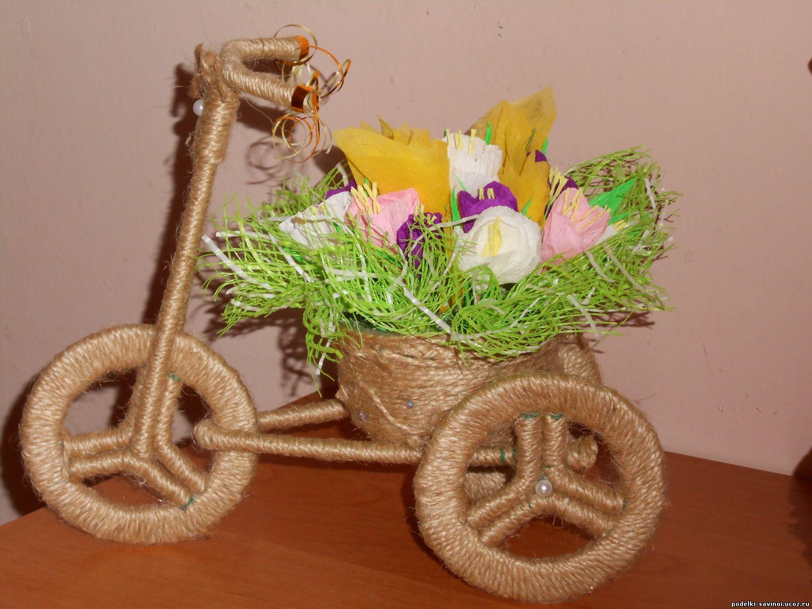 Велосипед из газетных трубочек мастер класс фото